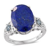 Lapis Lazuli, Electric Blue Topaz Platinum Over Sterling Silver Ring (Size 7.0) TGW 12.80 cts.