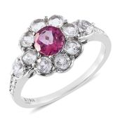 Pure Pink Mystic Topaz, White Topaz Stainless Steel Flower Ring (Size 5.0) TGW 2.70 cts.