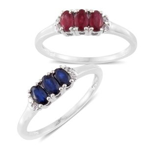 TLV Kanchanaburi Blue Sapphire, Niassa Ruby, Cambodian Zircon Platinum Over Sterling Silver Ring Set (Size 8) TGW 2.17 cts.