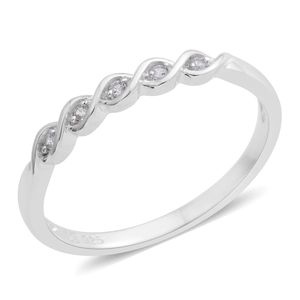 Lab Created White Sapphire Sterling Silver Ring (Size 8.0) TGW 0.05 cts.