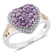 Mauve Sapphire, Cambodian Zircon 14K YG and Platinum Over Sterling Silver Heart Ring (Size 6.0) TGW 1.90 cts.