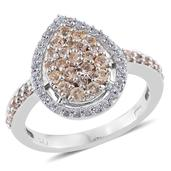 Imperial Topaz, Cambodian Zircon Platinum Over Sterling Silver Ring (Size 7.0) TGW 1.20 cts.