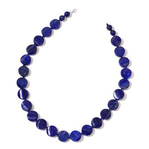 Lapis Lazuli Beads Sterling Silver Necklace (18 in) TGW 389.00 cts.