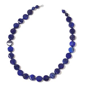 Mega Clearance Lapis Lazuli Beads Sterling Silver Necklace (18 in) TGW 335.00 cts.