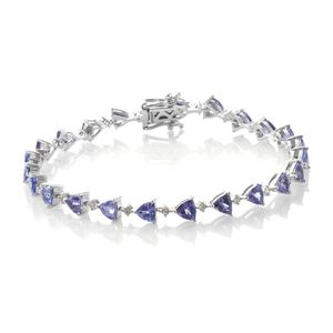 Tanzanite, Cambodian Zircon Platinum Over Sterling Silver Bracelet (7.50 In) TGW 8.45 cts.