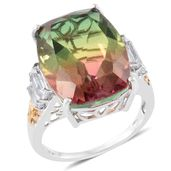 Rainbow Genesis Quartz, White Topaz 14K YG and Platinum Over Sterling Silver Ring (Size 7.0) TGW 21.40 cts.