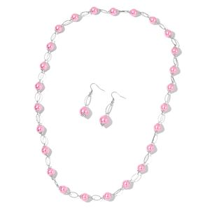 Simulated Pink Pearl Silvertone Earrings and Necklace (36 in)
