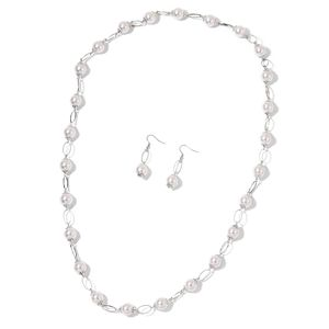 Simulated White Pearl Silvertone Earrings and Necklace (36 in)
