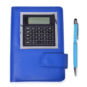 Blue Faux Leather Bussiness Meeting Planner with Built-in Calcutor and Blue Pen with Acrylic Crystals (5x7 in)