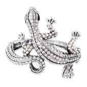 Creature Couture - White Austrian Crystal, Chroma Silvertone Lizard Bangle (6.50 in)