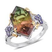 Rainbow Genesis Quartz, Tanzanite 14k YG and Platinum Over Sterling Silver Ring (Size 7.0) TGW 9.24 cts.