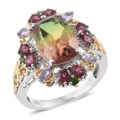 Rainbow Quartz, Multi Gemstone 14K YG and Platinum Over Sterling Silver Ring (Size 8.0) TGW 9.81 cts.