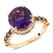 GP Amethyst, Multi Gemstone 14K YG Over Sterling Silver Ring (Size 9.0) TGW 7.89 cts.