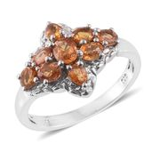 Orange Sapphire Platinum Over Sterling Silver Ring (Size 8.0) TGW 2.30 cts.