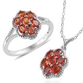 Orange Sapphire Platinum Over Sterling Silver Ring (Size 7) and Pendant With Chain (20 in) TGW 2.86 cts.