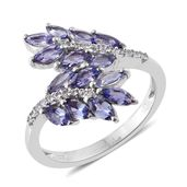 Tanzanite, Cambodian Zircon Platinum Over Sterling Silver Bypass Ring (Size 7.0) TGW 1.95 cts.