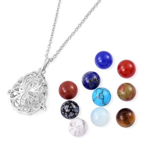 Doorbuster Multi Gemstone Silvertone Pendant With Stainless Steel Chain (24 in) and Set of 10 Interchangeable Charms TGW 124.00 cts.