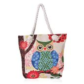 Cream with Multi Color Flower and Owl Pattern Jacquard 100% Polyester Canvas Tote with Rope Fabric Strap (14.5x4x15 in)