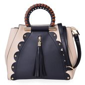 Black and Beige Faux Leather Tote Bag (12x6x10.2 in)