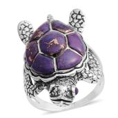 Santa Fe Style Mojave Purple Turquoise Sterling Silver Turtle Ring (Size 10.0) TGW 2.50 cts.