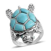 Santa Fe Style Kingman Turquoise Sterling Silver Turtle Ring (Size 7.0) TGW 2.50 cts.