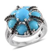 GP Arizona Sleeping Beauty Turquoise, Multi Gemstone Platinum Over Sterling Silver Ring (Size 7.0) TGW 6.17 cts.