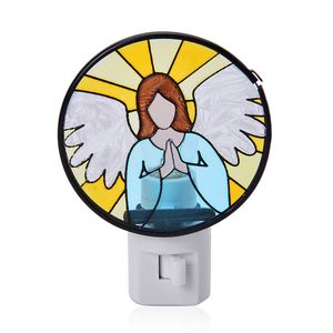 Angel Iron and Stained Glass Night Lamp (4.5 in)