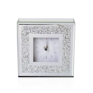 Glass Stick Clock Dual with Glitter Frame and Silver Border(5.5x2x6 in) (AA Battery not Included)