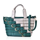 Green and Silver Faux Leather Buckle Belt Tote with Removable Shoulder Strap (48in) and Standing Studs(11x6x9 in)