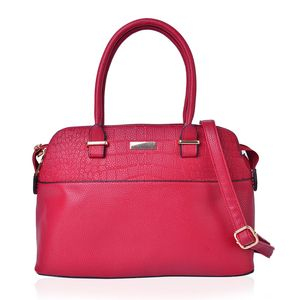 Red Faux Leather Shoulder Bag (13.4x5x9 in)
