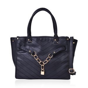 Black Faux Leather Links and Lock Chevron Quilted Tote with Removable Strap (45 in) (13.5x5x9 in)