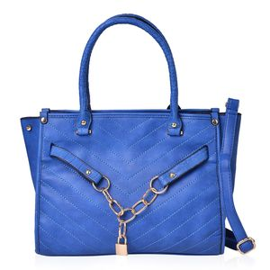 Blue Faux Leather Links and Lock Chevron Quilted Tote with Removable Strap (45 in) (13.5x5x9 in)