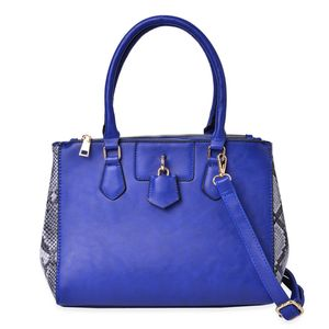 Blue with Snake Skin Pattern Faux Leather Side Button Expander Tote Bag with Standing Stud (12x4.5x9 in)