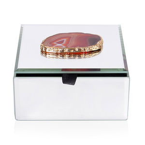 Enhanced Amber Agate Goldtone Multi-Functional Keepsake Box (5x3x5 in)