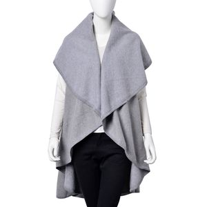 Gray 100% Acrylic Waved Drape Kimono (One Size)