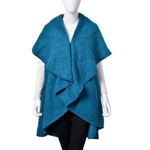 Teal 100% Acrylic Waved Drape Kimono (One Size)