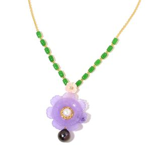 Burmese Purple Jade, Multi Gemstone 14K YG Over Sterling Silver Necklace (18 in) TGW 41.26 cts.