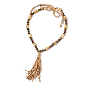 South African Tigers Eye, Wooden Beads Beige Faux Leather Tassel Necklace (24 in) TGW 300.00 cts.