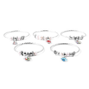 Set of 5 Blue and Red Glass, Multi Color Austrian Crystal Silvertone Diamond Cut Bangles with Charms (8 in)