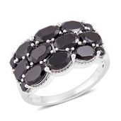 Thai Black Spinel Sterling Silver Ring (Size 7.0) TGW 6.27 cts.