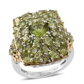 Hebei Peridot, Russian Diopside 14K YG and Platinum Over Sterling Silver Ring (Size 7.0) TGW 7.75 cts.