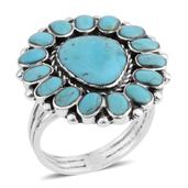 Santa Fe Style Kingman Turquoise Sterling Silver Ring (Size 9.0) TGW 2.25 cts.