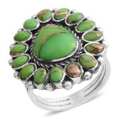 Santa Fe Style Mojave Green Turquoise Sterling Silver Ring (Size 6.0) TGW 2.25 cts.