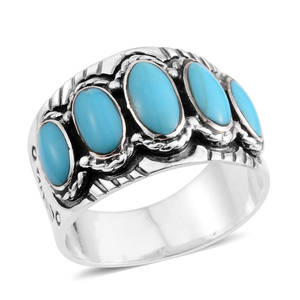 Santa Fe Style Kingman Turquoise Sterling Silver Ring (Size 7.0) TGW 1.50 cts.