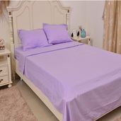 Lilac Micofiber Flat Sheet (81x96 in), Fitted Sheet (54x75 in) and Set of 2 Pillow Cases (20x30 in)