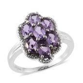 Bolivian Amethyst Stainless Steel Flower Ring (Size 6.0) TGW 2.94 cts.