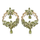 Hebei Peridot 14K YG and Platinum Over Sterling Silver Floral Earrings TGW 10.21 cts.