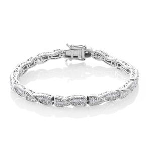 Diamond Platinum Over Sterling Silver Bracelet (7.50 In) TDiaWt 2.00 cts, TGW 2.00 cts.