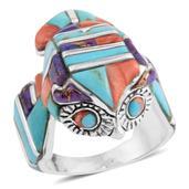 Santa Fe Style Multi Gemstone Sterling Silver Owl Men's Ring (Size 10.0) TGW 27.23 cts.
