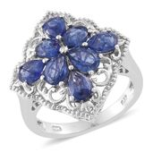 Masoala Sapphire Platinum Over Sterling Silver Ring (Size 5.0) TGW 3.86 cts.
